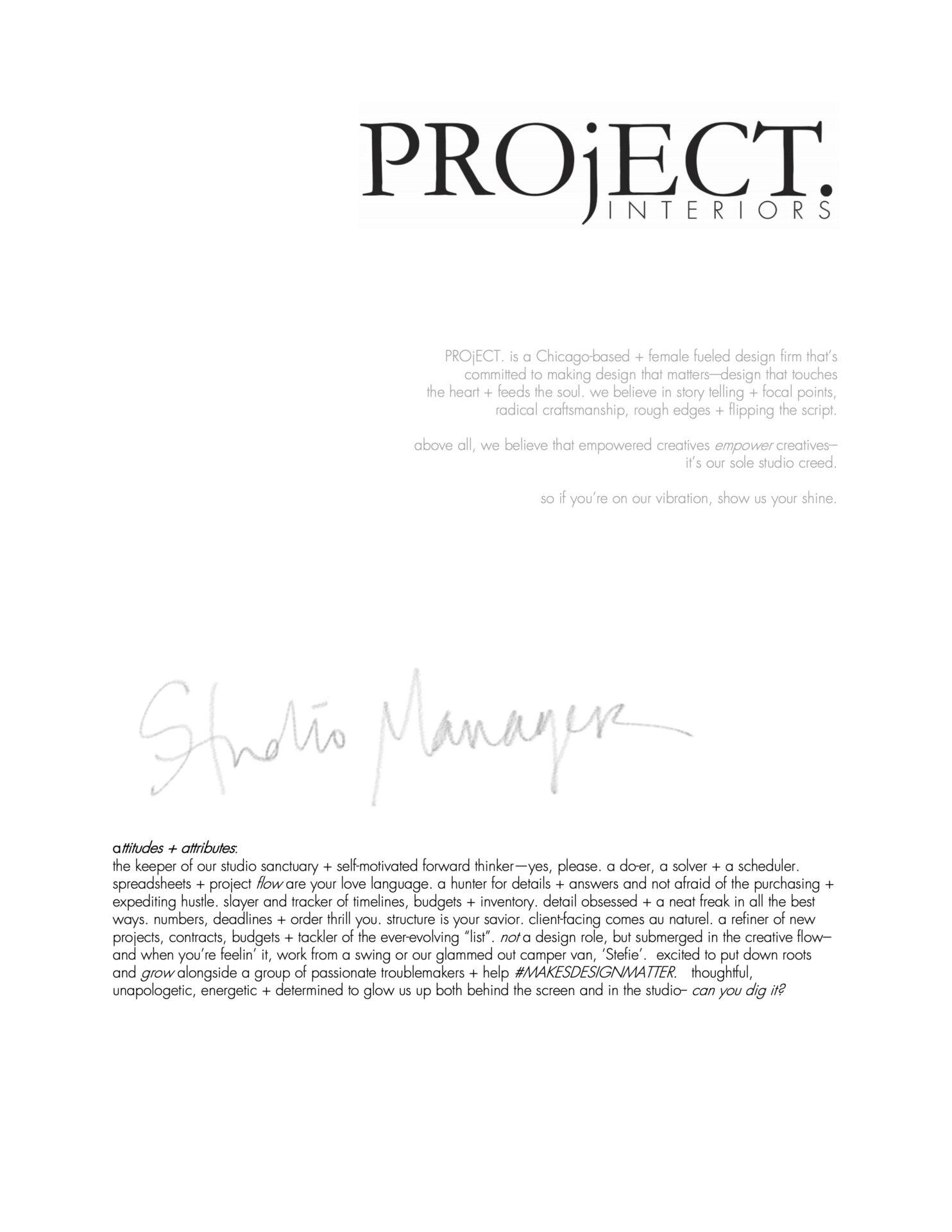 PROjECT Senior Designer Position - page 1